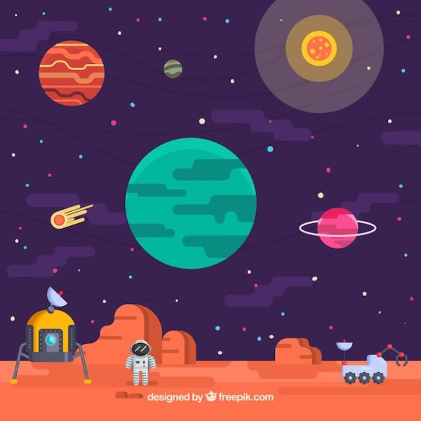 Universe background with astronaut on a planet Vector ...