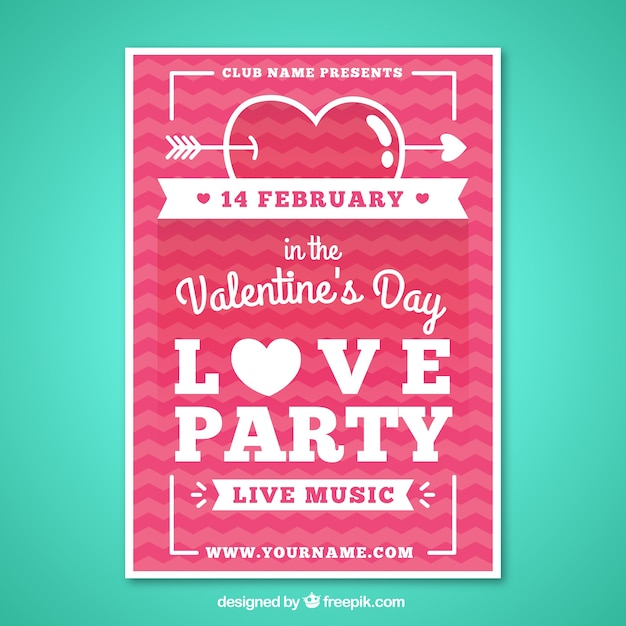 Valentine Day Party Poster In A Flat Design Vector Free