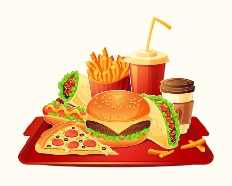 Vector cartoon illustration of a traditional set of fast food meal Free Vector