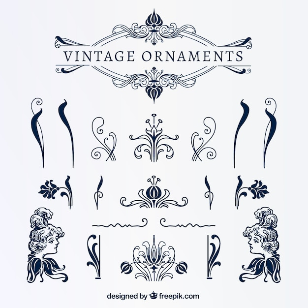 Vintage Blue Ornaments Vector Free Download