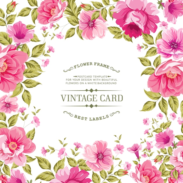 Vintage Frame Decorated With Pink Flowers Vector Premium