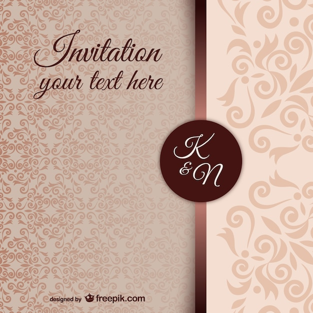 Vintage invitation template with damask pattern Vector   Free Download Vintage invitation template with damask pattern Free Vector