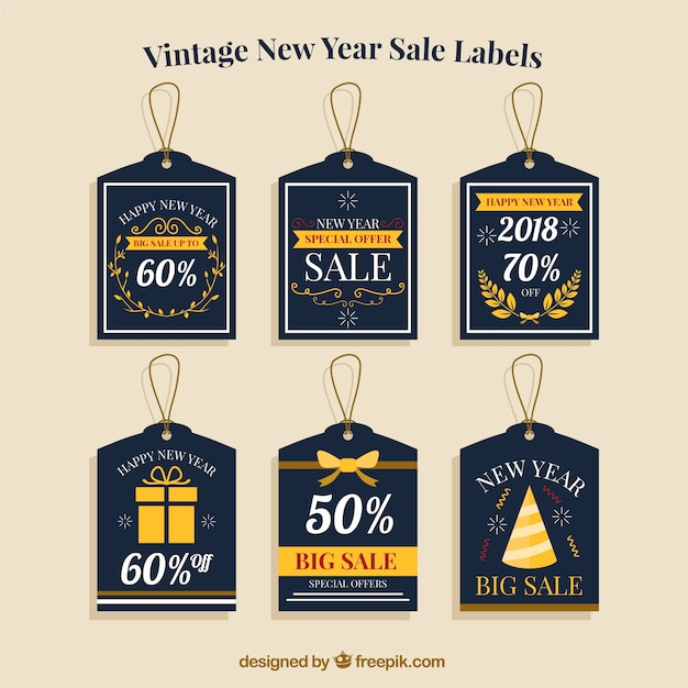 vintage new year label