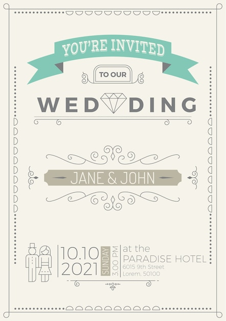Vine Wedding Invitation Card Template With Flourish Ornaments Line Style