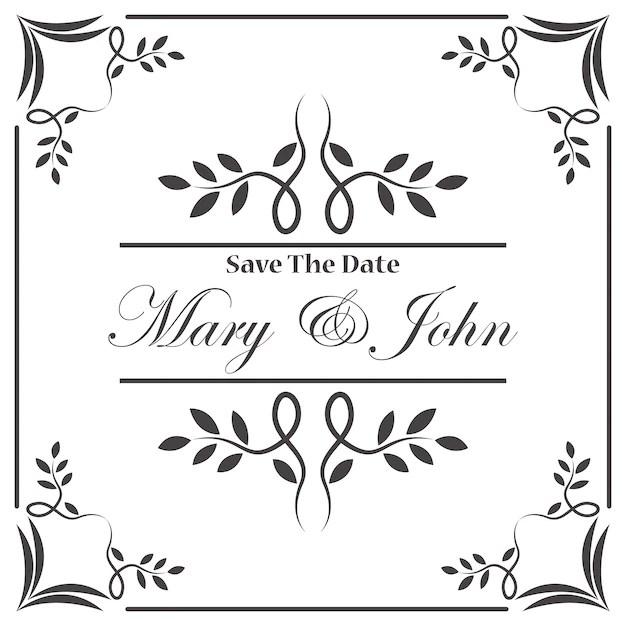 Vine Wedding Invitation Frame Free Vector