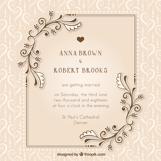 Vine Wedding Invitation With Fl Details