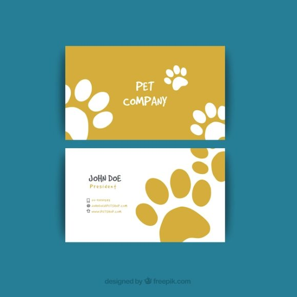 Visiting card with tracks for pet shop Vector | Free Download