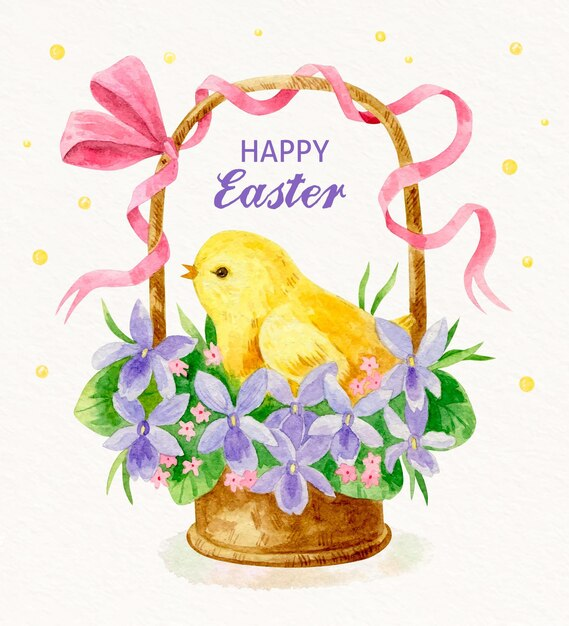 Watercolor easter illustration Free Vector