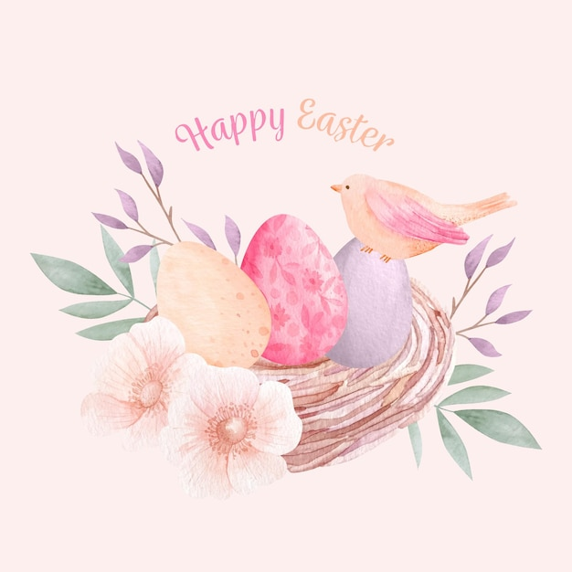 Watercolor happy easter illustration Free Vector