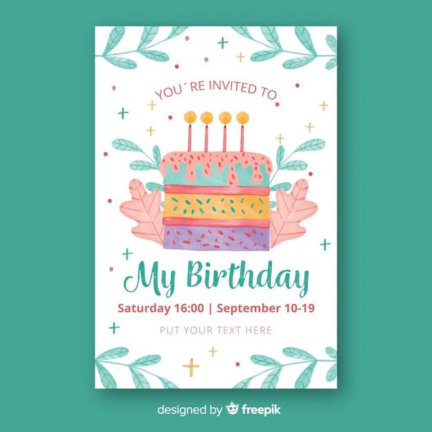 watercolor style birthday invitation