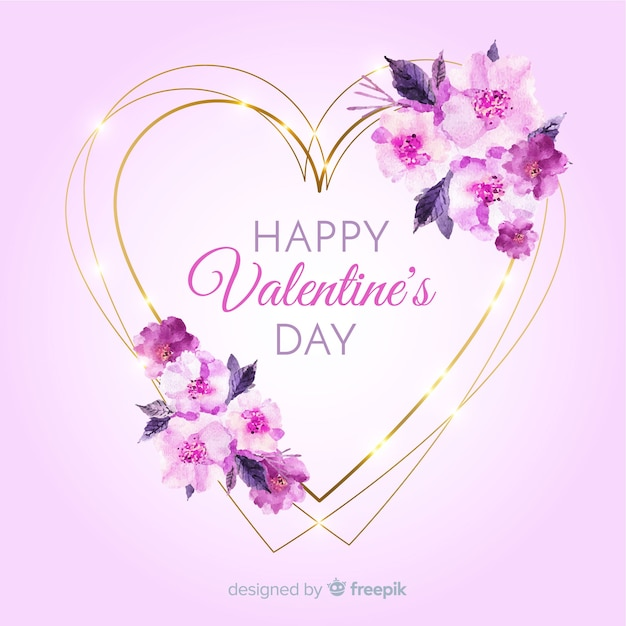 Beautiful Floral Heart Frame Valentines Day Free Vector