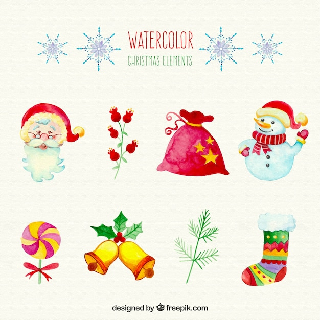 Watercolour Christmas Elements Vector Free Download