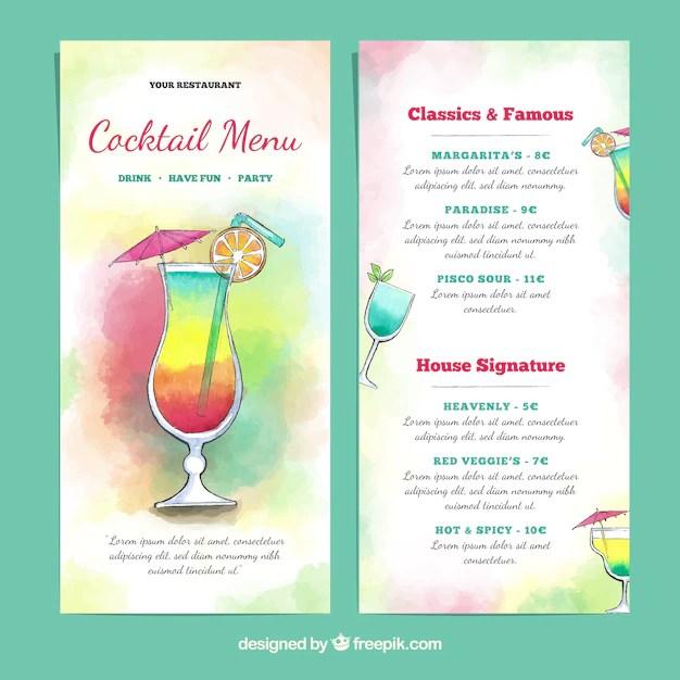 Colorful cocktails menu template Free Vector - Beautiful Watercolor Design