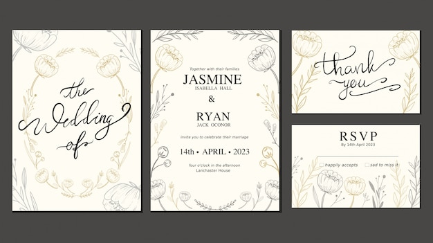 Wedding Invitation Card Set With Hand Drawn Flower And