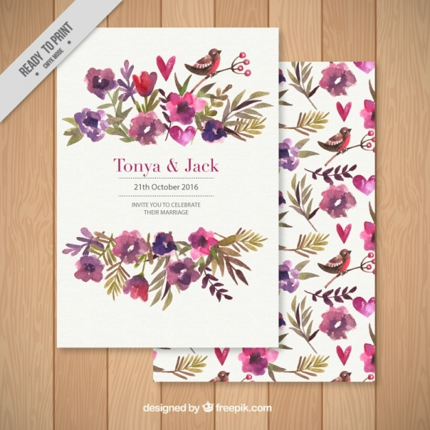 Wedding Invitation Decorated With A Fl Background Free Vector