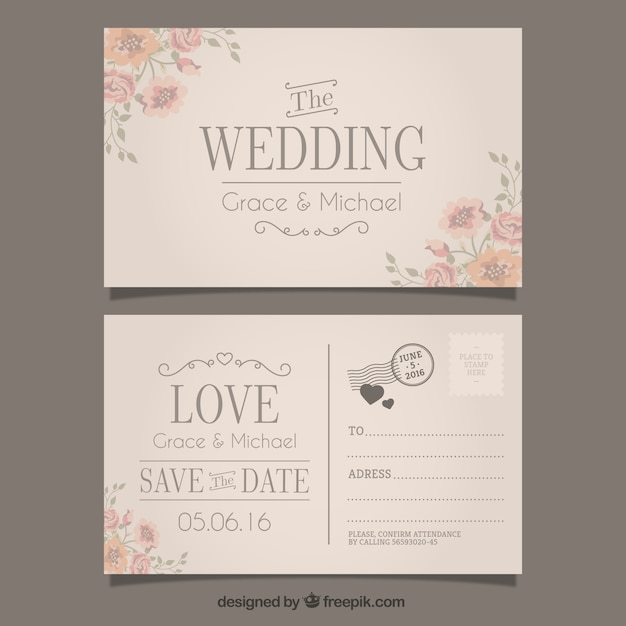 Wedding Invitation In Postcard Style Free Vector