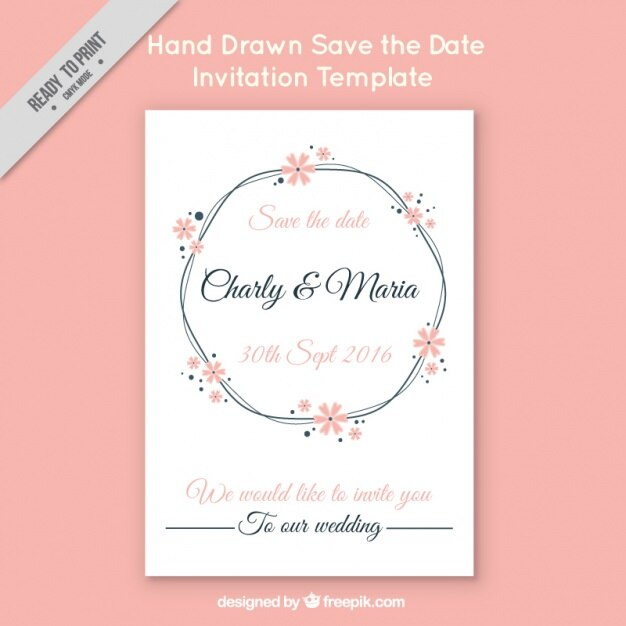 Wedding Invitation On Pink Background Free Vector
