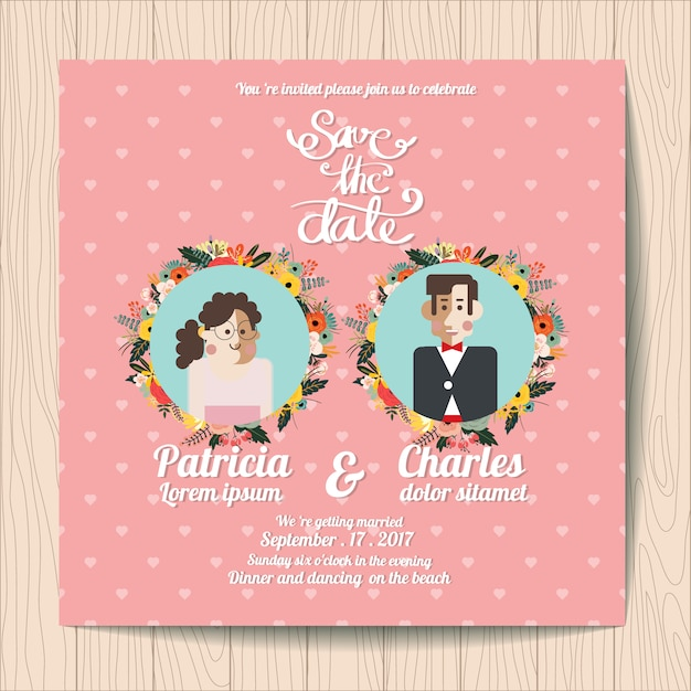 Wedding Invitation With Character Inside Fl Wreaths Free Vector