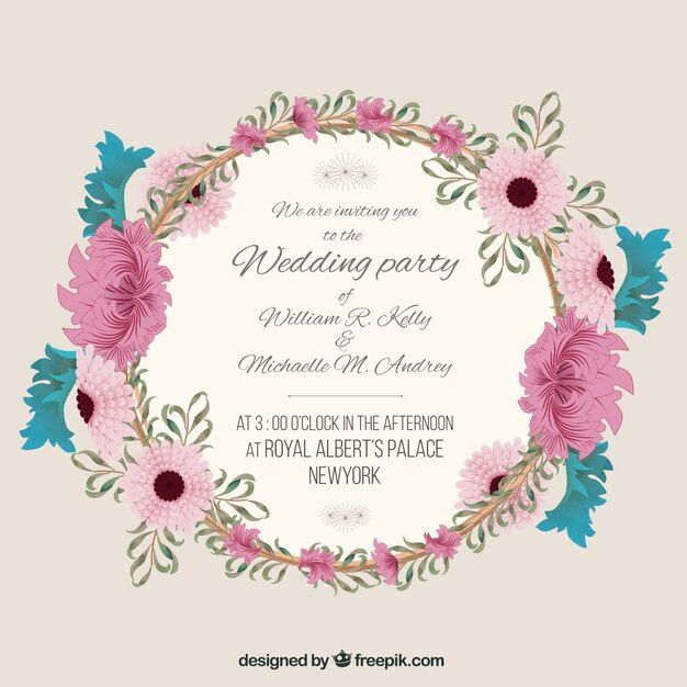 Wedding Invitation With Fl Frame Free Vector