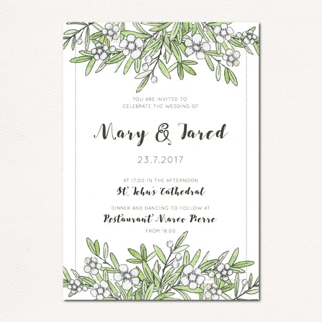 Hand Painted Roses Flowers And Wedding Invitation Border Free Png Vector