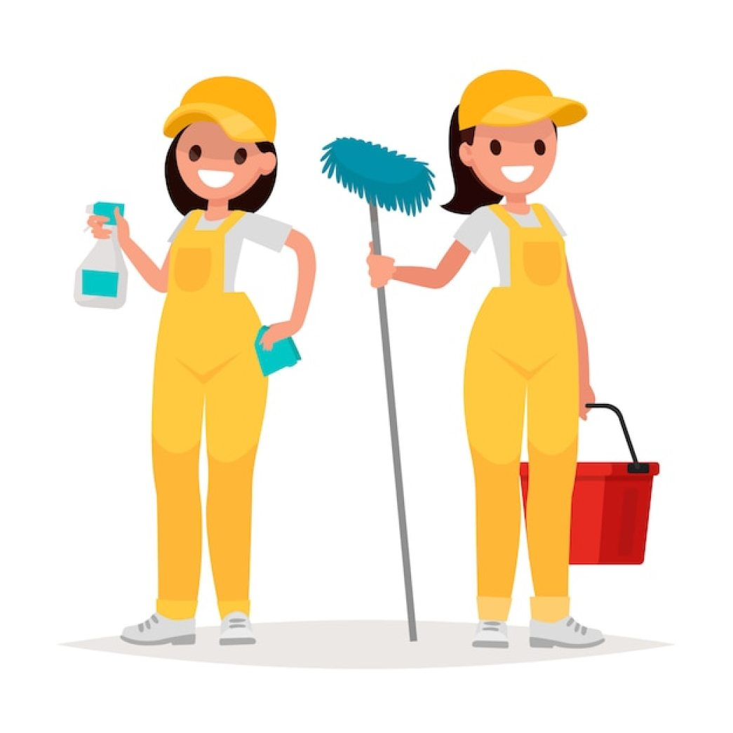 Premium Vector   Women workers of cleaning company on a white background. vector illustration in a flat style
