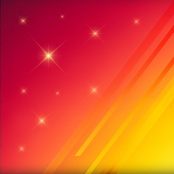 Yellow and red blurred background with stars Vector Free
