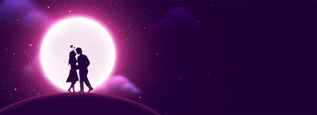 Download Young couple in love on cloudy full moon night background ...