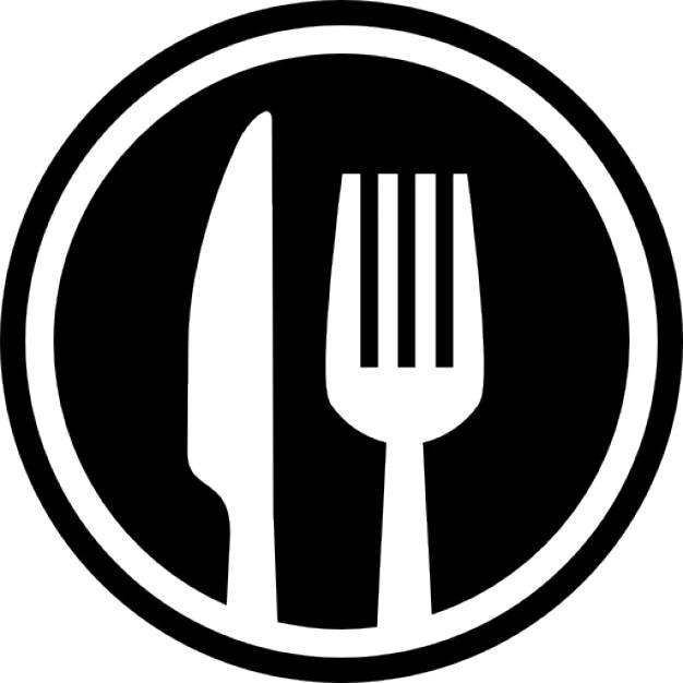 Fourchette et couteau couverts symbole d'interface de cercle pour le restaurant Icon gratuit