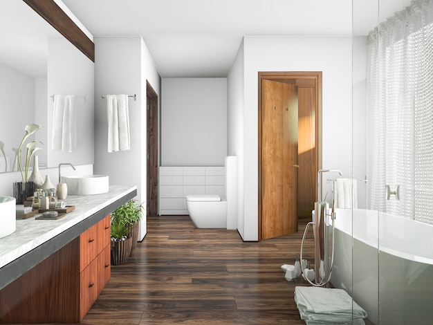 Salle De Bain Design 3d Rendu Bois Et Carrelage Pres De La Fenetre Un Rideau Photo Premium