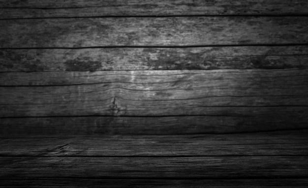 Table Vierge Avec Fond De Bois Fonce Photo Premium