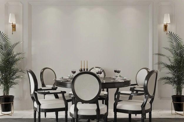 Sono elementi d'arredo raffinati che rendono unica la vostra camera. Interiore Della Camera Classica Con Tavolo E Sedie Foto Premium