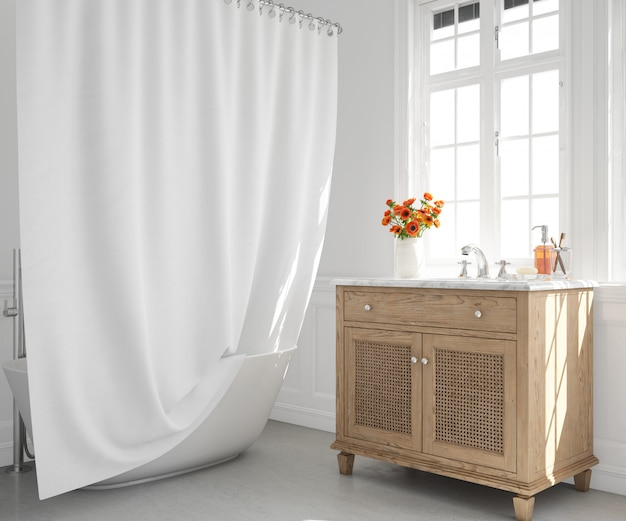 baignoire avec rideau et lavabo sur