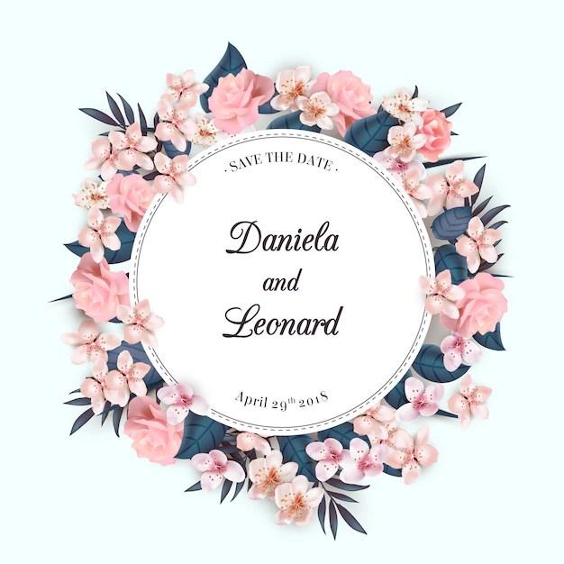 couronne de fleurs invitation de mariage