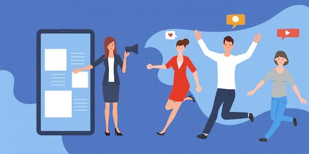Design Plat D'infographie De Médias Sociaux. Part De Marketing Viral Des  Personnes. Smartphone De Technologie De Communication. | Vecteur Premium