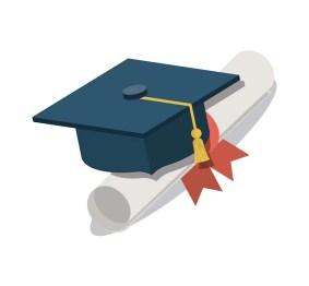 Diplôme Avec Graduation Hat Isolé Icône | Vecteur Premium