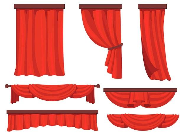 ensemble plat de rideaux rouges de