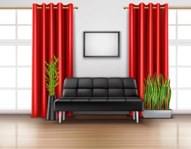 rideaux rouges de luxe