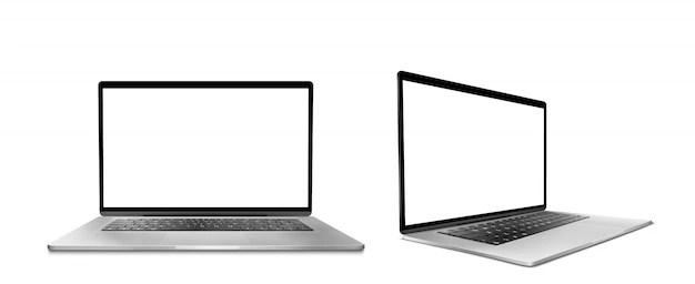ordinateur portable avec ecran blanc et