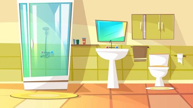 bain avec cabine de douche illustration