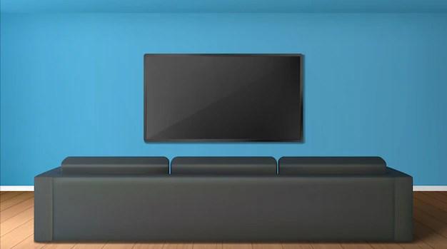 salon vide avec ecran de television sur