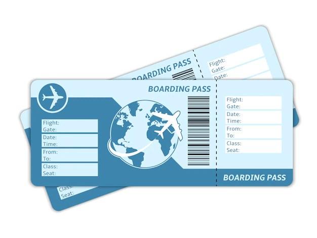 Dos billetes de avión sin rellenar con la imagen de un avión rodeando la bola del mundo ahorrar viajando en avión
