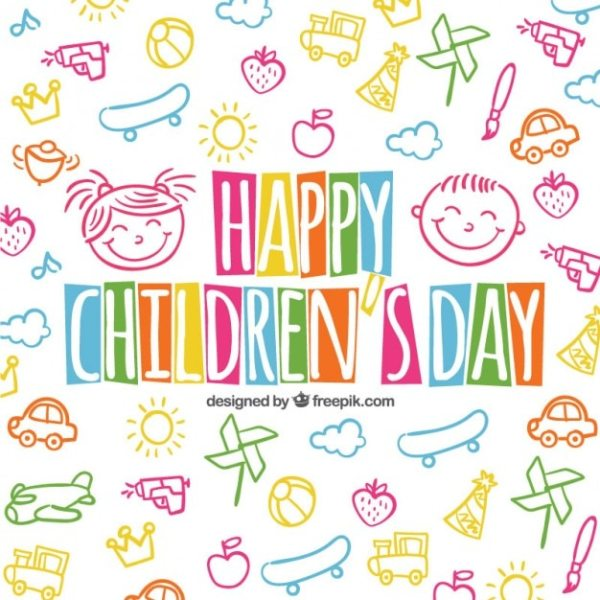 Fondo colorido del día de los niños en estilo esbozado ...