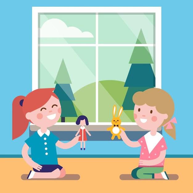 Ilustração de duas meninas brincando de bonecas embaixo de janela
