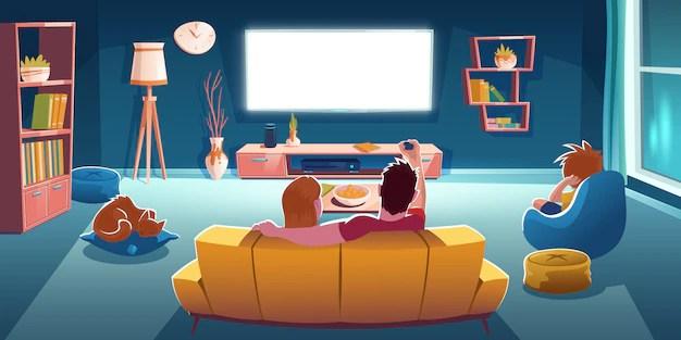 Família assistindo TV. Televisão demais contribui para sobrepeso