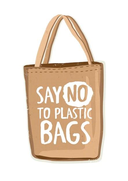 Saco de compras reutilizável de têxteis ecologicamente corretos ou comprador ecológico com a inscrição diga não às sacolas plásticas Vetor Premium