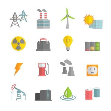 Usina de energia icons collection | Vetor Grátis
