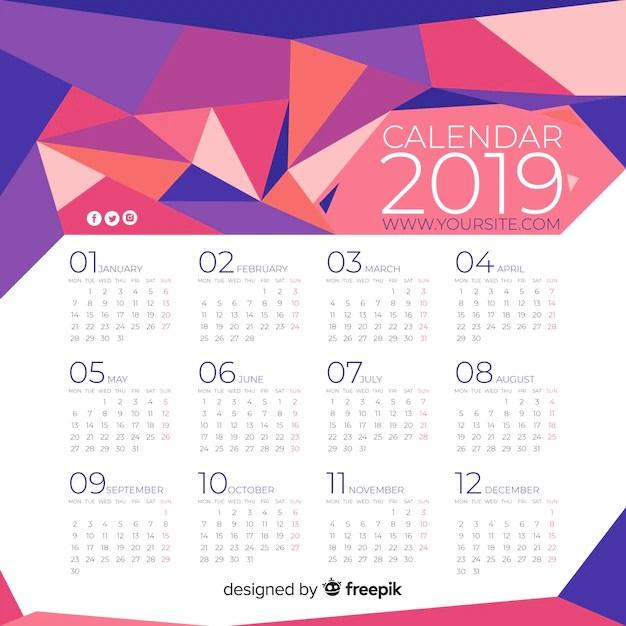 Calendario 2019 Scaricare Vettori Gratis