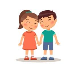vector van jongen en meisje hand in hand