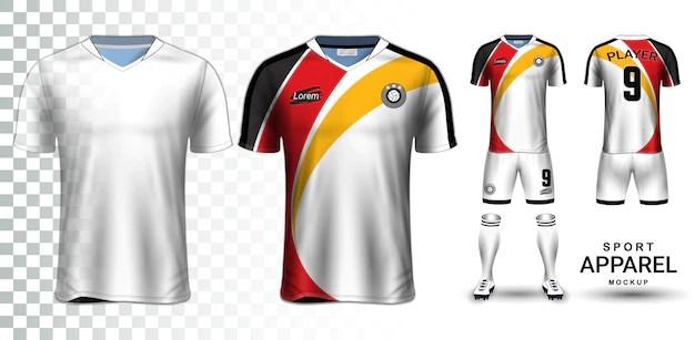 Download Voetbal jersey en voetbal kit presentatie mockup sjabloon ...