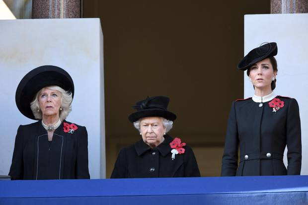 """Duchess Camilla, the Queen and Duchess Catherine on """"Remembrance Sunday"""" in 2018."""